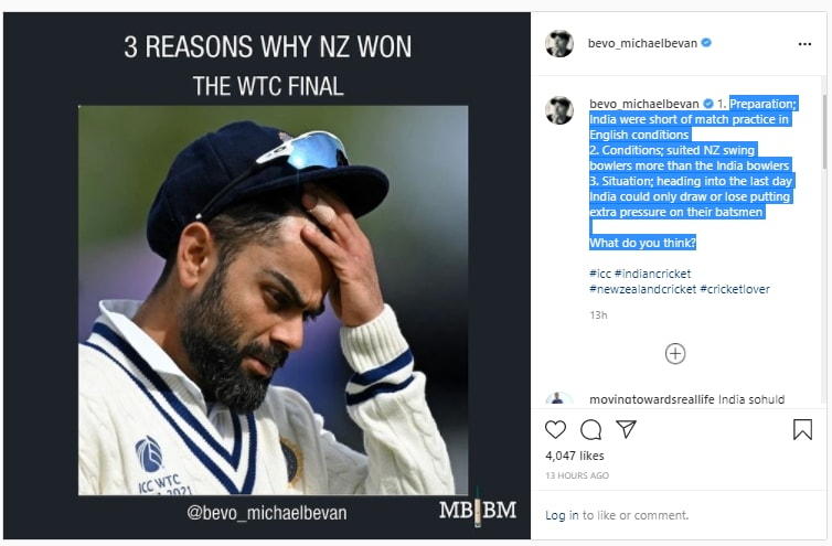 Michael Bevan feels these three reasons let India down in the WTC final. (Michael Bevan/Instagram)