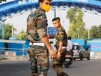 Jammu: Security personnel patrol after two low intensity explosions reported in the technical area of Jammu Air Force Station in the early hours of Sunday. (PTI)