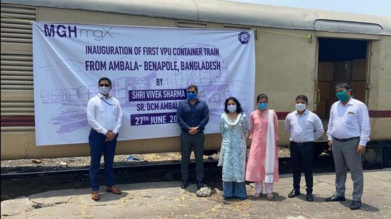The special parcel train to Bangladesh being flagged off at the Ambala Railway Station on Sunday. (HT Photo)