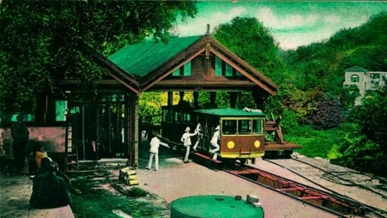 In this undated photo provided by Hong Kong Peak Tramways, a 1st generation Peak Tram which serviced from 1988 to 1926 is seen in Hong Kong.(AP)