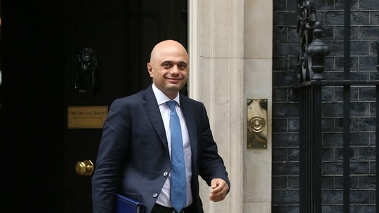 In this file photo taken on June 11, 2019, Sajid Javid, then Britain's Home Secretary, leaves 10 Downing Street in central London on June 11, 2019, after attending the weekly meeting of the Cabinet. (AFP)