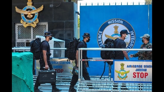 Security personnel at the Air Force Station in Jammu on Sunday. (PTI)