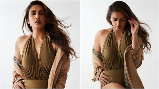 Huma Qureshi in halter-neck monokini and trench coat mixes summer and fall vibes(Instagram/@iamhumaq)