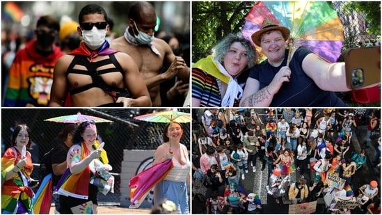 """Marchers, who chanted slogans such as """"Gay rights are human rights!,"""" made their way in a joyful atmosphere from Pantin which is on the outskirts of Paris to Place de la Republique on the city's Right Bank, amid rainbow flags and colourful placards."""