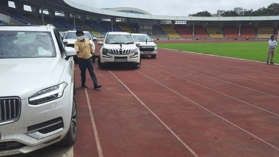 Maharashtra BJP MLA Siddharth Shirole posted the photos of cars being parks at Shiv Chhatrapati Sports Complex. The photos are from local media, he said.
