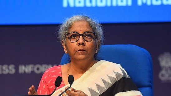 Sitharaman on Monday raised the total corpus of Emergency Credit Line Guarantee Scheme (ECLGS) from <span class='webrupee'>₹</span>3 lakh crore to <span class='webrupee'>₹</span>4.5 lakh crore.(Raj K Raj / HT Photo)