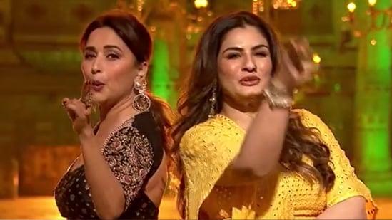 Madhuri Dixit and Raveena Tandon on Dance Deewane 3.