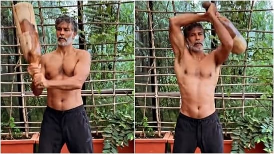Milind Soman trains shirtless with a 10kg mudgar in new workout video: Watch(Instagram/@milindrunning)