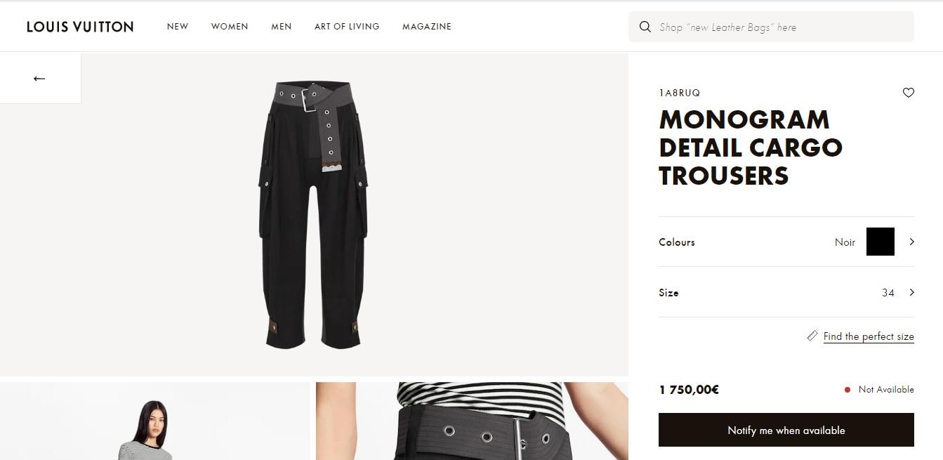 Sonam Kapoor Ahuja's cargo pants from Louis Vuitton(en.louisvuitton.com)