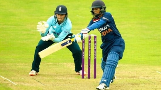 India's Mithali Raj bats, during the Women's One-Day International cricket match between England and India, at the Bristol County Ground, in Bristol, England, Sunday June 27, 2021. (AP)