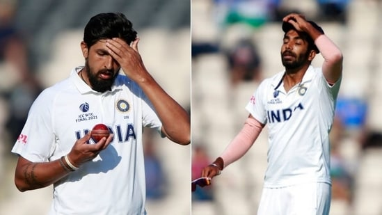Indian pacers Ishant Sharma (L) and Jasprit Bumrah (R)(HT Collage)