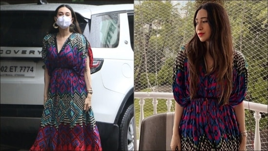 Karisma Kapoor gives street style kaftan a sexy twist with thigh-high slits, cinched waist(Elevate Promotions/Instagram@karismasfc)