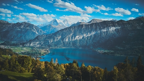 Interlaken: This place was once famous for making watches, but today it is more popular as a tourist resort.  It is located between two large alpine lakes: Thun and Brienz. (Unsplash)