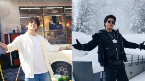 BTS' V posed for Butter concept pictures (L). Shah Rukh Khan doing his signature pose (R).