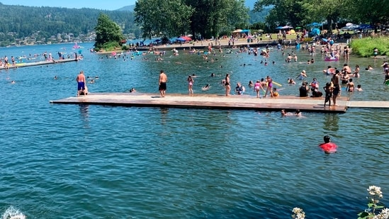 People flock to Bloedel Donovan park at Lake Whatcom in Bellingham, Wash., during an uncharacteristic Pacific Northwest heat wave.(AP)