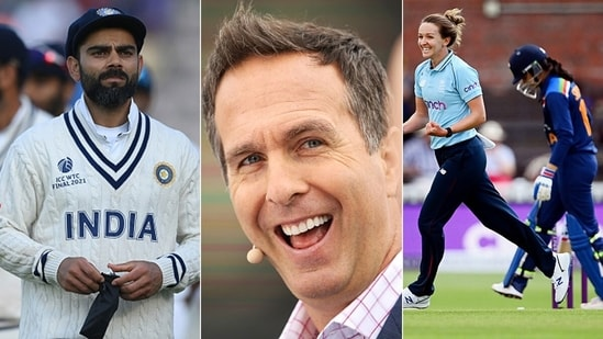 Michael Vaughan (C) took a dig at the Indian team after India women's top order batted with character. (Getty Images)