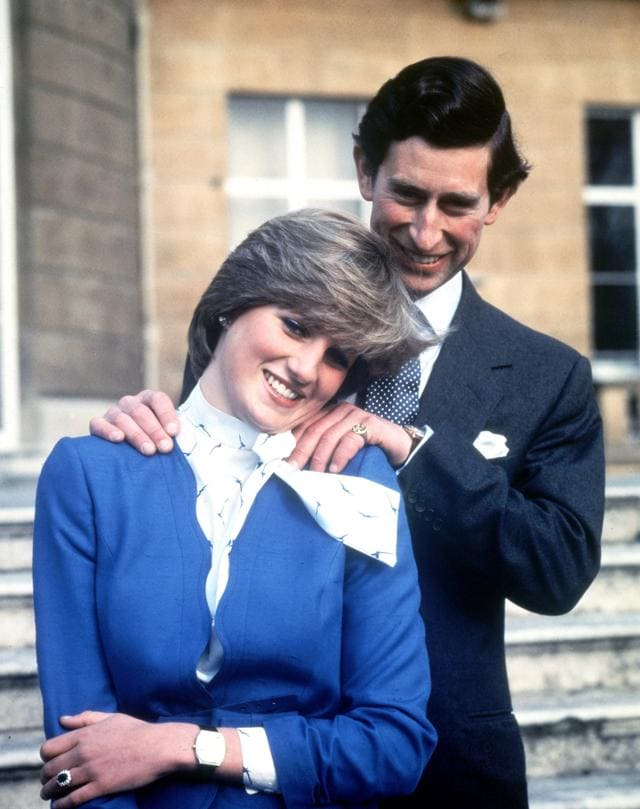 Britain's Prince Charles and Lady Diana Spencer pose after the announcement of their engagement.  For someone who started life in the limelight as