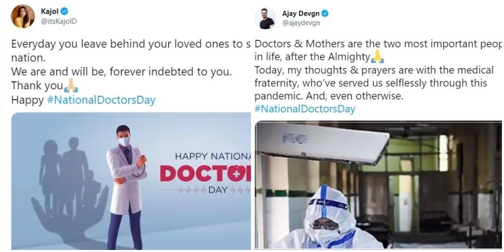 अभिनेता युगल काजोल और अजय देवगन ने भी डॉक्टरों पर लिखा।