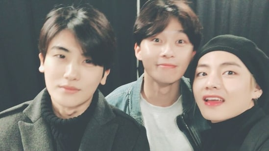 Park Hyung-sik with fellow Wooga Squad members Park Seo-joon and BTS member V.