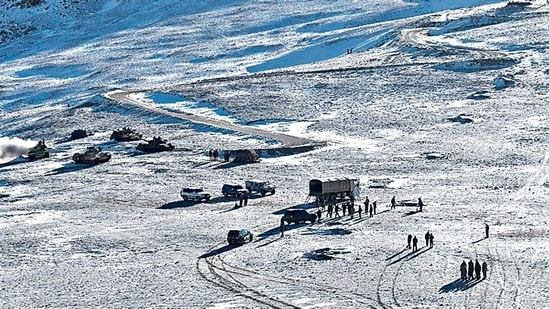 Disengagement process on along the LAC in Ladakh in February. The region, along with the country's borders with Pakistan, comes under the jurisdiction of the Udhampur-based Northern Command.(AFP)