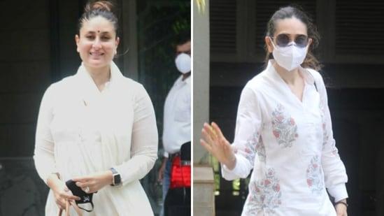 Kareena Kapoor and Karisma Kapoor arriving at their father Randhir Kapoor's new home on Friday.(Varinder Chawla)