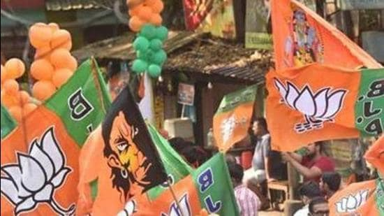 File photo: BJP activists with party flags. (PTI)