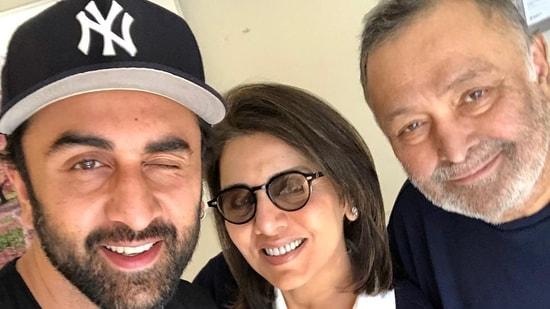 Neetu Kapoor with Rishi Kapoor and son Ranbir Kapoor.
