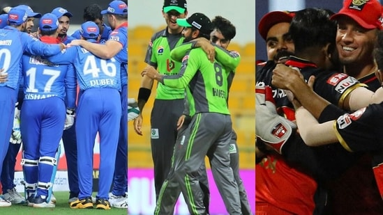From Left: Delhi Capitals, Lahore Qalandars and Royal Challengers Bangalore. (Twitter)