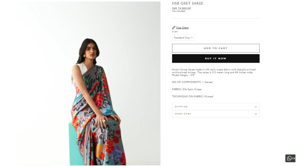 Gray printed saree.  (Kshitijalori.com)