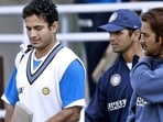 Former Indian pacer Irfan Pathan, with former captain Rahul Dravid and MS Dhoni (L-R)(Getty Images)