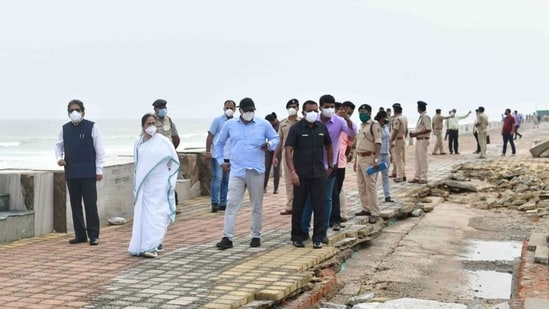 West Bengal chief minister Mamata Banerjee takes stock of the damage caused by Cyclone Yaas, in Digha on May 28. (File photo)