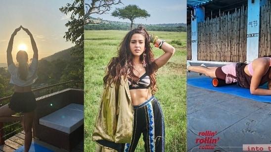 Sara Ali Khan watches sunrise on mountain while performing Yoga's Vrikshasana, aces foam rolling exercise(Instagram/saraalikhan95)