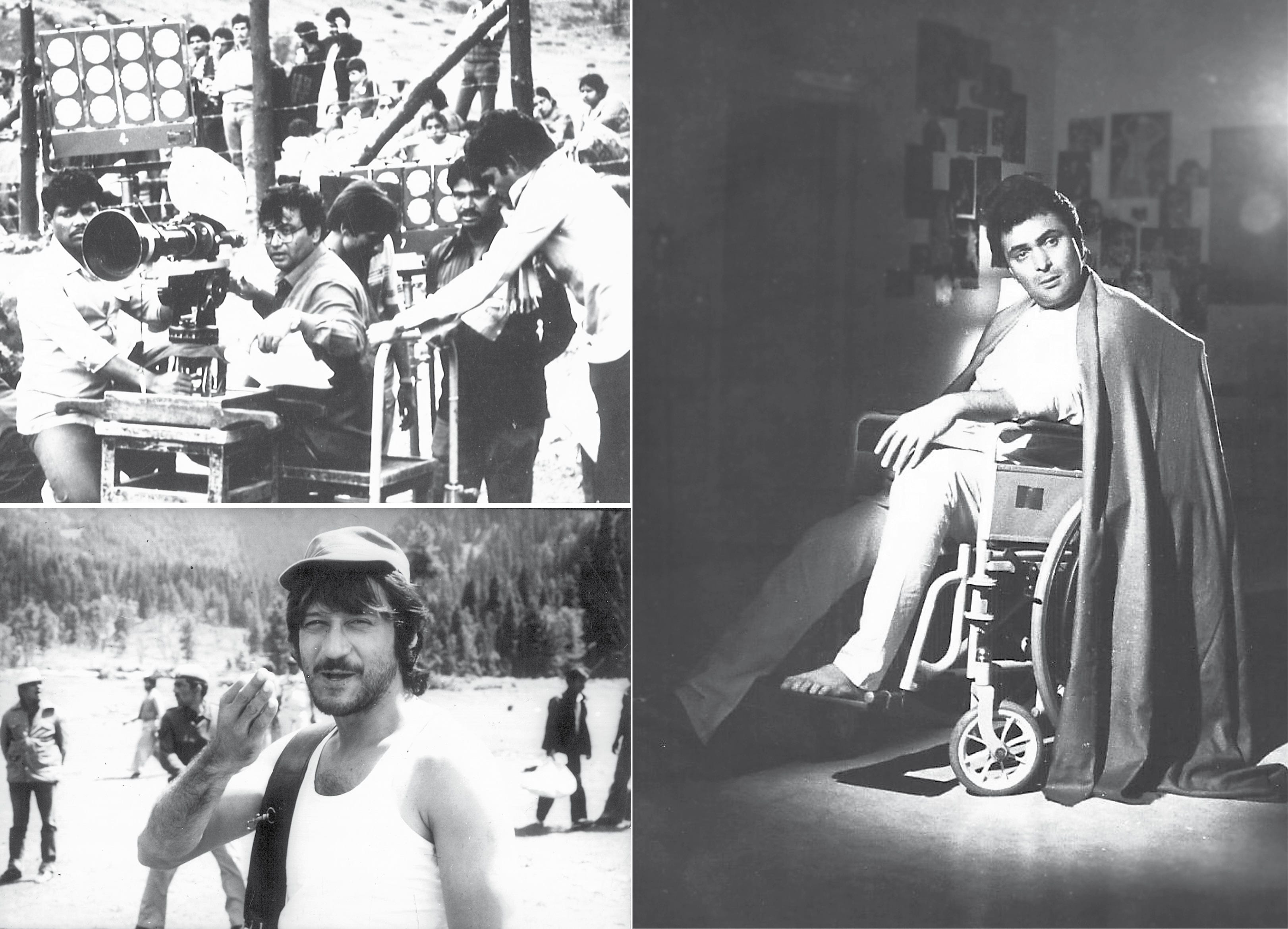 (Clockwise from top left) Subhash Ghai at the outdoor shoot of his movie; a shot of Rishi Kapoor clicked for his movie, Chandni; Jackie strikes a candid pose for the author on the sets of his movie in Pahalgam (Dinesh Raheja)