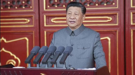 Chinese President and party leader Xi Jinping delivers a speech at a ceremony marking the centenary of the ruling Communist Party in Beijing on July 1. (AP)