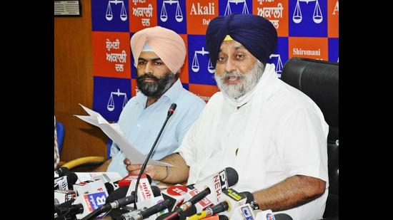 Shiromani Akali Dal president Sukhbir Singh Badal addressing a press conference in Chandigarh on Monday.