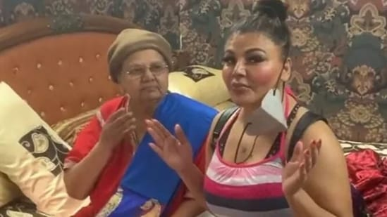 Rakhi Sawant poses with her mother.