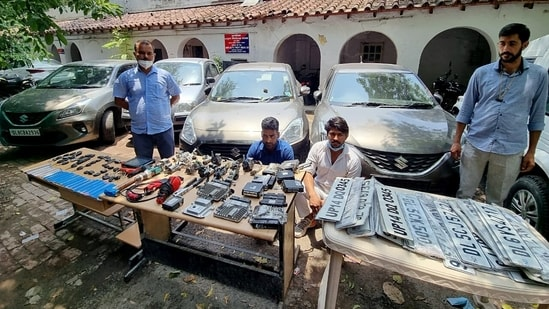 Delhi Police Special Cell Unit busted auto lifters and recovers stolen vehicles and illegal weapons, in New Delhi on Sunday. (ANI Photo)