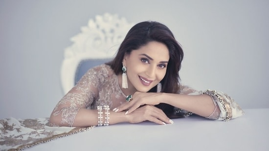Madhuri Dixit is a timeless beauty in white lehenga and sheer blouse worth <span class='webrupee'>₹</span>5 lakh(Instagram/@madhuridixitnene)