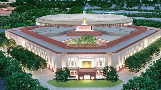 A model of the proposed new Parliament building, in New Delhi. (File photo)