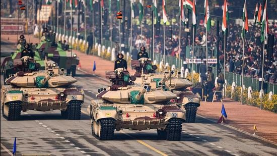 Indian armed forces T-90 tanks pass Rajpath, during the 72nd Republic Day celebrations in New Delhi on January 26, 2021. (PTI)