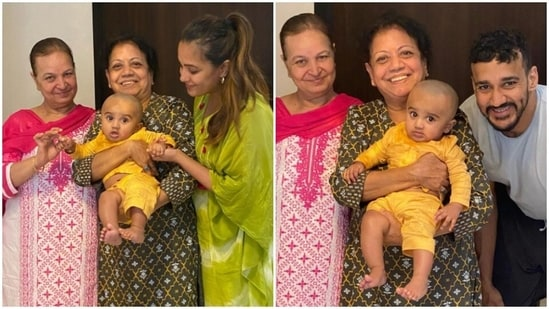 Anita Hassanandani, Rohit Reddy with their son Aaravv Reddy and the couple's mothers--Kavita Hassanandani and Sarama Reddy.