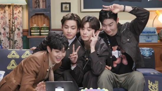 BTS V reunites with his Wooga Squad members Park Seo-joon, Choi Woo-shik, Peakboy and Park Hyung-sik.(BTSChartDaily/Twitter)