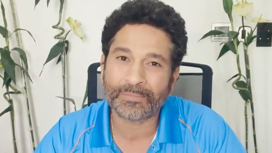 Sachin Tendulkar (in frame) sends best wishes to India's Tokyo Olympics contingent(SCREENGRAB/TWITTER)