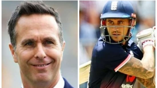 Michael Vaughan reacts to Covid outbreak in England camp, says they might see Alex Hales (right) play again.(HT Collage)