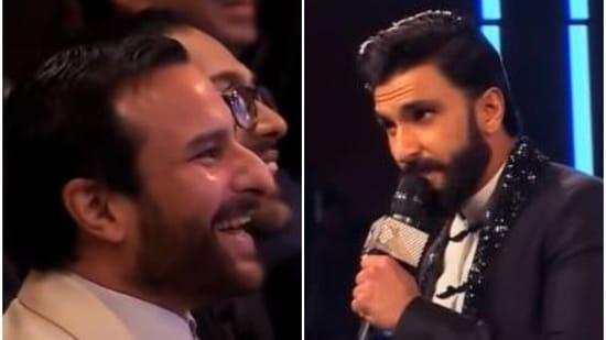 Ranveer Singh and Saif Ali Khan at an awards show.