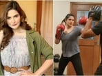 Zareen Khan's intense boxing session video will pump you up for midweek workout(Instagram/@zareenkhan)