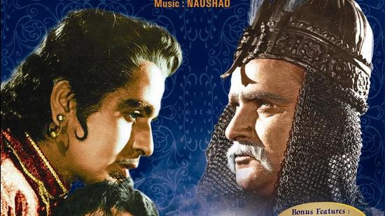 A poster of Mughal-E-Azam (1960) starring Dilip Kumar, Madhubala and Prithviraj Kapoor. (HT Archive)