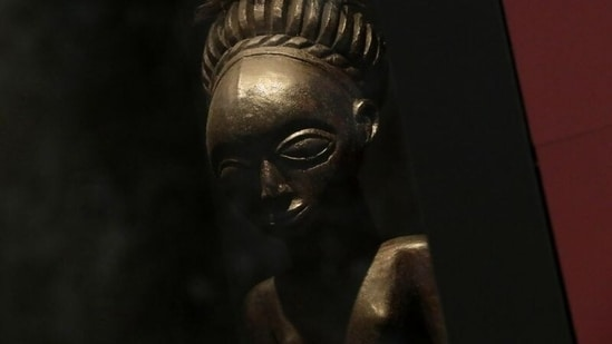 An ancestral statue known as Lusinga, dated to the 19th century, is pictured at the Royal Museum for Central Africa (RMCA) as the Belgian government has announced plans to return pieces of art looted from Congo during colonial rule, in Tervuren, Belgium July 6, 2021. REUTERS/Yves Herman(REUTERS)