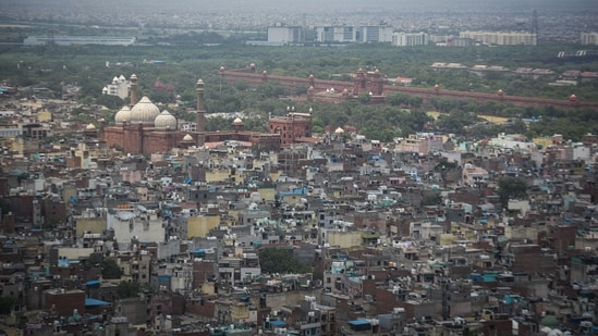 A view of Jama Masjid, Red Fort and the old quarters of the city on a clear day in New Delhi, India, on Saturday, June 19, 2021. (Photo by Sanchit Khanna/ Hindustan Times)