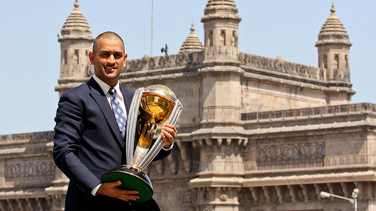 Former Indian captain MS Dhoni with the 2011 World Cup trophy(Twitter)
